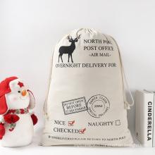 Creative Custom Printing Christmas Gift Drawstring Bag Cloth Shopping Bag