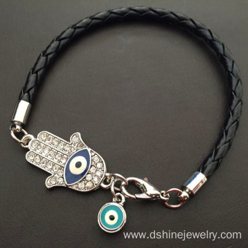 Customized Knot Leather Braided Evil Eye Charm Bracelet