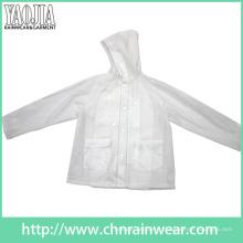 Yj-1057 Clear Transparent PVC Femmes Légère pluie Jacket Ladies Rainwear