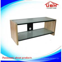 MDF Frame Carved Glass TV Cabinet / Glass TV Stand