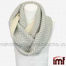 Striped Infinity Neck Scarf in Knit Pattern Crochet Circle Loop scarf