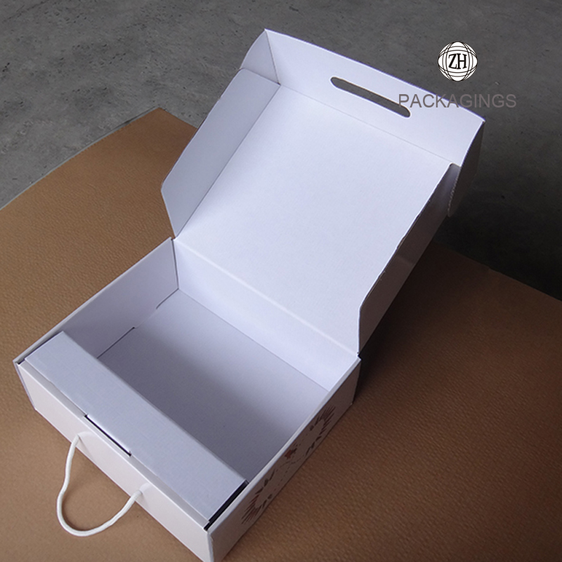 Custom made white shipping box with handle