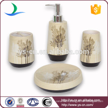 Fashionable Brown Tree Design Ceramic Bathroom Gift Set