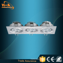 Venda quente Produtos 9 W Três Cabeças Embutidas LED Teto Lâmpada