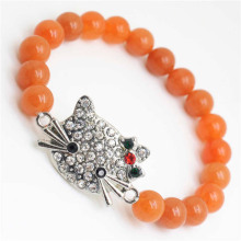 Red Aventurine Gemstone Bracelet with Diamante alloy cat head Piece