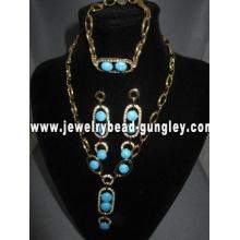 conjunto de jóias de turquesa