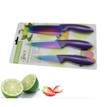 3PCS Colorful Plastic Handle Kitchen Knife Set (SE-3542)