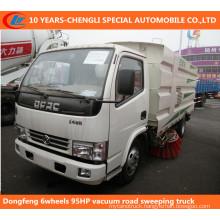 Dongfeng 6wheels 95HP Vacuum Road Sweeping Truck
