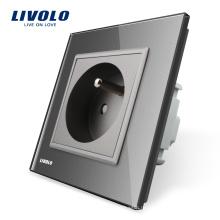 Французская настенная розетка Livolo, стандартная французская, панель из серого хрусталя, AC220 ~ 250В, розетка 16А, VL-C7C1FR-15