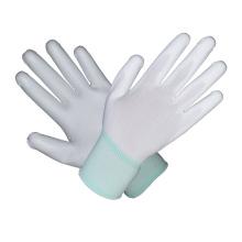 Gant de sécurité en cuir revêtu de garniture blanc et vert