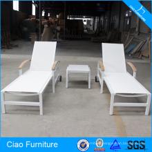 Outdoor Furniture Teak Handrails And Wheel Sun Lounger