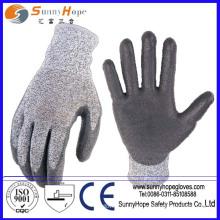 Anti-Cut Level 5 PU beschichtete, schneidfeste Schutzhandschuhe
