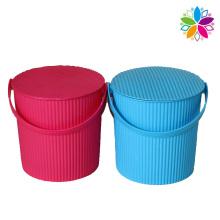 Wave Design Plastic Storage Bucket with Handle (SLT004)