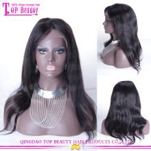 Завод прямых продаж длинные черные прямые перуанских Девы человеческих волос парик дешевые парик фронта шнурка с волосами младенца
