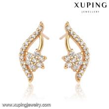 92466 Xuping elegante venta al por mayor de 18 quilates pendientes de piedra blanca plateada
