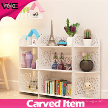 Carve Patterns White Plastic-Wooden Storage Small Storage Shelf
