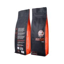Factory Customized Printing Resealable Zipper Valve Block Flat Bottom Food Coffee Bean Matt Coffee Bags Packaging