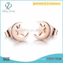 Moon and star love stud earrings,stud earrings for girl friend