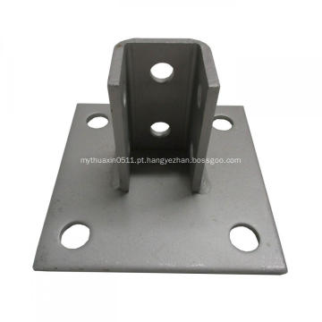 Base de coluna do canal de suporte quadrado de aço cinza