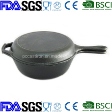 3qt Double Use Cast Iron Saucepan Combo Cooker Lid as Frypan Manufacturer From China