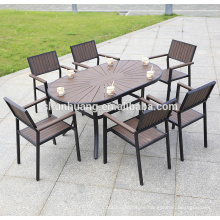 New arrive plastic wood outdoor furniture poolside dining set long table with 6 seater for leisure