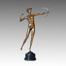 Sport-Statue Bogenschütze Dame Bronze Skulptur, Milo TPE-124