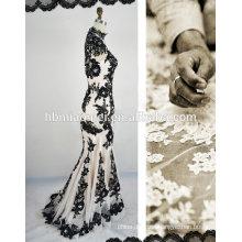 Muslin sexy lackless lace black wedding dress