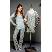 Flower print viscose pajama set and nightdress