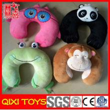 Oreiller de cou animal chinois drôle u forme oreiller de bande dessinée cou oreiller de voyage en peluche animal de voyage