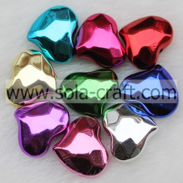 16*20MM Metallic Colorful Plastic Heart Spacer Beads Pattern