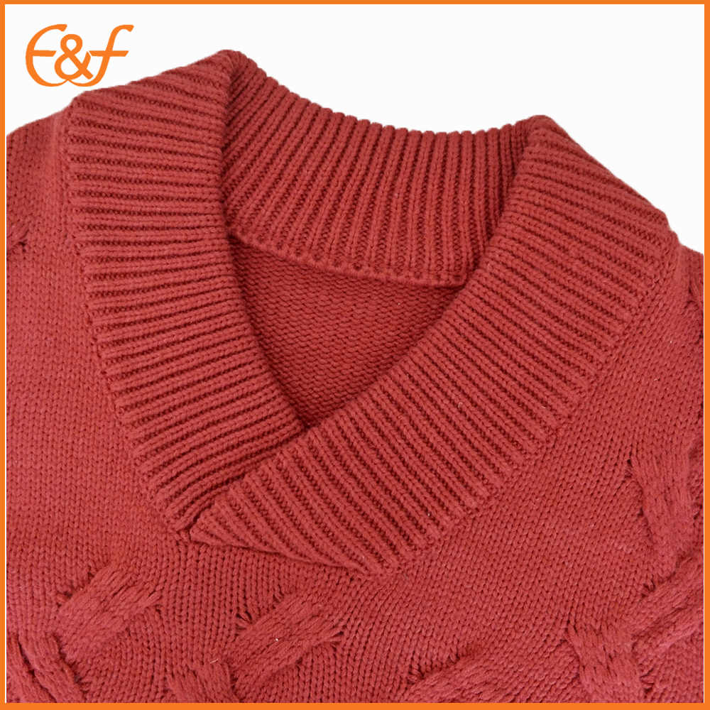 Heavy gauge big V-neck sweater