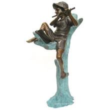 outdoor garden decoration metal brozne boy playing flute statue