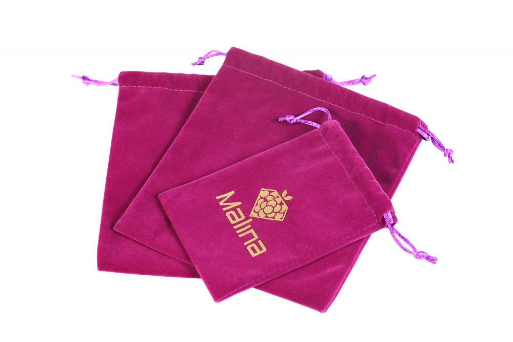 Drwawstring Purple velvet bag with gold logo