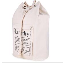 storage laundry basket collapsible cotton canvas drawstring washing laundry bag with adjustable shoulder straps
