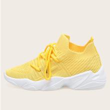 Легкие желтые спортивные туфли из цемента 2021 flyknit