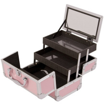 pink silver train aluminum hairdressing tool make up case