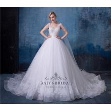 Hochzeitskleid der langen Zugprinzessin abnehmbares Brautkleid Brautkleid 2018 mit Schal