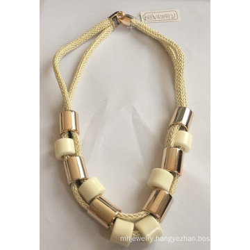 Double Fabric Necklace with Metal