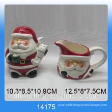 2016 Christmas kitchenware ceramic sugar pot and milk jug