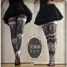 2016 Japan Asia fashion new design High False splicing tattoo socks stocking tube for sex leg
