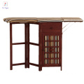 Antique White Foldable Iron Table modern Wicker Wood cabinet with Ironing Board