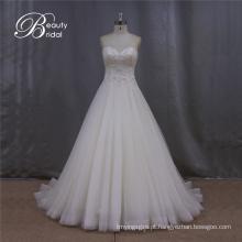 Vestido de noiva sem alças elegante Beading Strapless