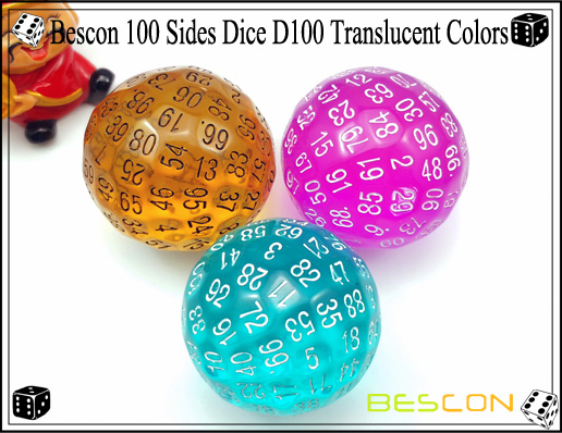 Bescon 100 Sides Dice D100 Translucent Colors
