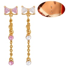 Gold Belly Ring Rewind Triangle CZ Stone Piercing Fashion Jewellery