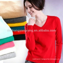 v-neck knitted 100% cashmere sweater for women