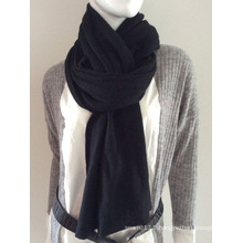 Lady Fashion Black Cashmere Knitted Scarf (YKY4387-1)