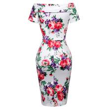 Belle Poque Stock Retro Vintage Short Sleeve Off Shoulder Hips-Wrapped Flower Printed Vintage Dress 8 Size US 2~16 BP000117-6