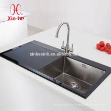 Durable Edelstahl Schüssel gehärtetem Glas Top Waschbecken für Küche mit Glas Abtropffläche