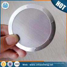Disco de filtro soldada con punto de borde envuelto de 200 micras para el filtrado de líquidos