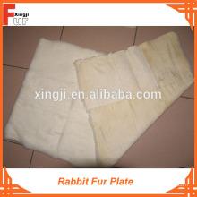 Piel real blanca blanqueada, placa de piel de conejo